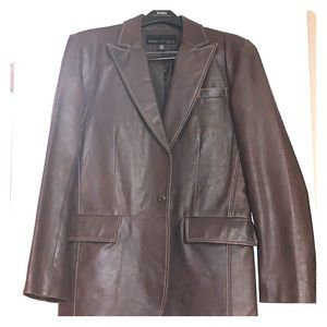 Kenneth Cole brown 100% real leather coat
